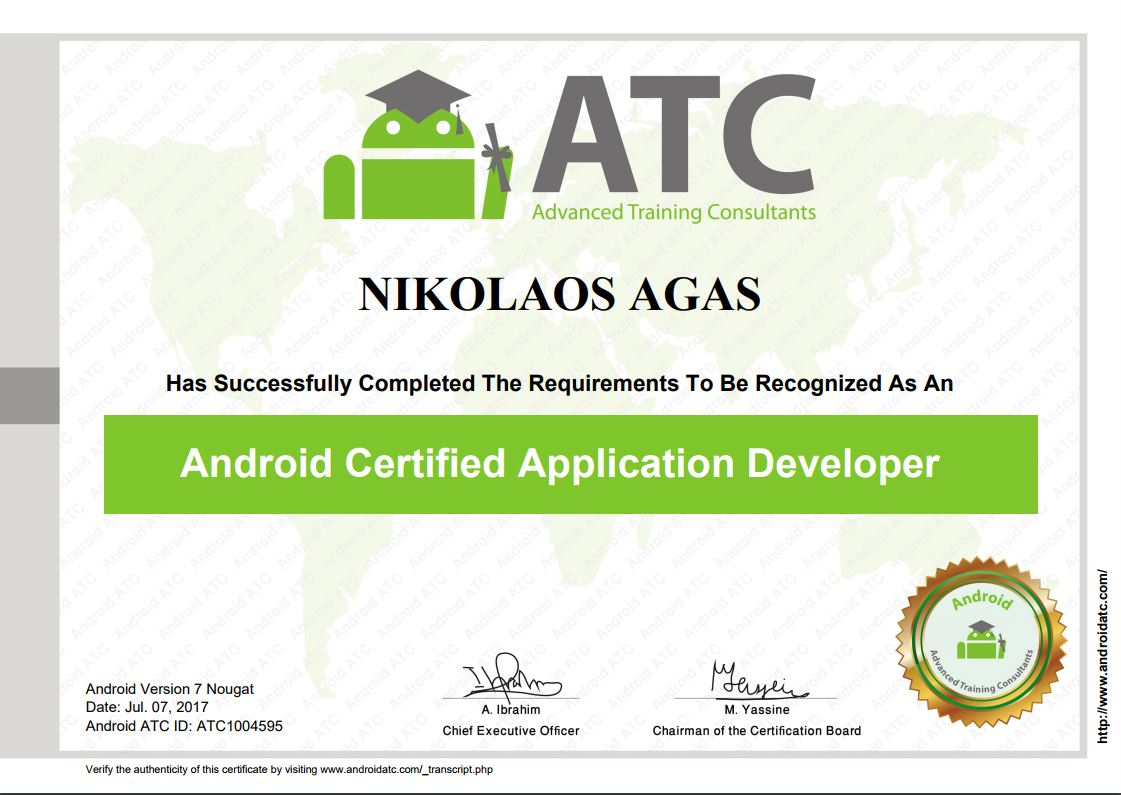 Android Certified Application Developer Nickos Agas